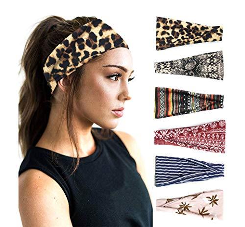 PLOVZ 6 Pack Women's Yoga Running Headbands Sports Workout Hair Bands (Set 18)