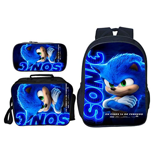 Sonic Bookbag Schoolbag 16' Backpack with Insulated Lunch Box Pencil Case for Boys Girls (Sonic-5)