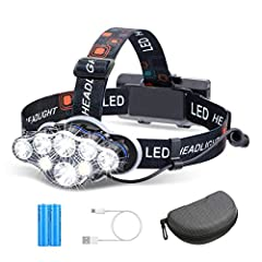 【UlTRA BRIGHT & LONG LIFE】The bright headlamp consists of 8 LED bulbs, which provides up to super brightness and the maximum illumination range reaches 600 meters that you can see the surroundings very clearly in the dark. The rechargeable headlamp h...