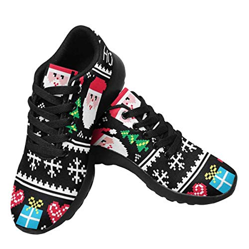 InterestPrint Womens Running Sneakers Lightweight Casual Walking Shoes for Gym Sports Christmas Jumper Or Sweater Pattern US9