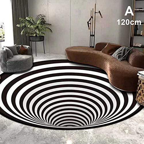 MNJM 2020 3D waschbar gedruckt rund Vortex Illusion Muster Rutschfest Teppich Fußmatte Haushalt