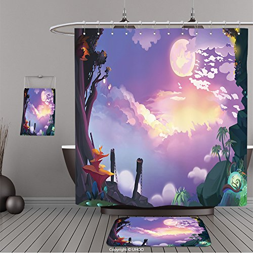 Uhoo Bathroom Suits & Shower Curtains Floor Mats And Bath Towels 361689650 Illustration Beautiful Sky From Mountain Top. Realistic Fantastic Cartoon Style Artwork Scene, Wallpaper, Game Story Backgrou