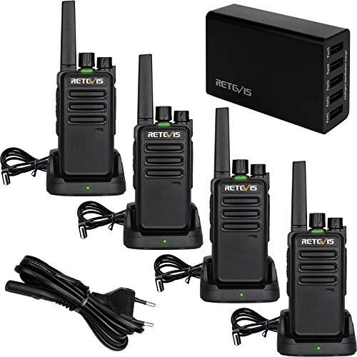 Retevis RT668 Walkie Talkie mit 5-Port-Ladegerät, USB Ladeschale Wiederaufladbar Funkgeräte, PMR446 Walkie-Talkie SQ 16 CH CTCSS/DCS TOT VOX 2-Wege-Radio für Baustellen, Fabrik (Schwarz, 4 Stück)