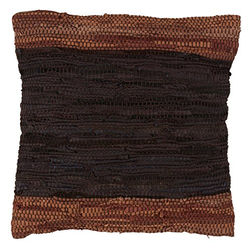SARO LIFESTYLE Collection Two-Tone Leather Chindi Throw Pillow with Down Filling 18' Coffee