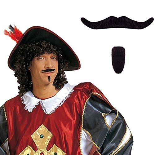 NET TOYS Mousquetaire Barbe Set Barbe de Mousquetaire Noir d'Artagnan Barbe de déguisement Barbe française Fausse Barbe