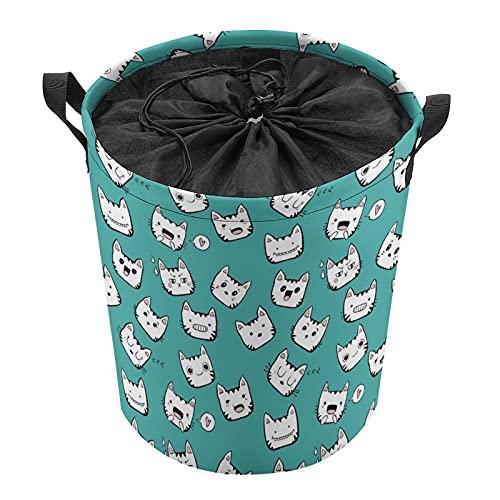 Cubo de almacenamiento impermeable grande organizador ligero cesta para la colada, cubos de juguete, cestas de regalo, ropa sucia, dormitorio de niños, cuarto de baño, gato blanco