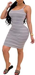 MU2M Women's Spaghetti Strap Sexy Bodycon Club Stripe Sleeveless Midi Dress