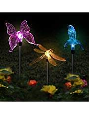 CDIYTOOL Solarne lampy ogrodowe na zewnątrz, 3 sztuki motyl koliber ważka LED zasilane energią słoneczną palik światło zmieniające się kolory solarne wróżki światła ogrodowe dekoracja na imprezę trawnik ścieżka chodnik