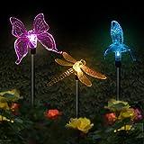 Lot de 3 lampes solaires de jardin en forme de papillon, colibri, papillon,...