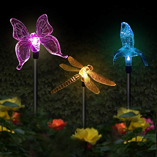 Butterfly Garden Solar Lights Outdoor, 3 Pack Hummingbird Butterfly Dragonfly Solar Garden Stake Light, Multi-Color Changing LED Garden Lights Party Decorations Lightings for Lawn Yard Path Walkway