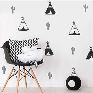 Olivialulu 18 x tipi tält kaktus barn sovrum väggklistermärke barnkammare väggkonst dekal tribal tält klistermärken nordis...