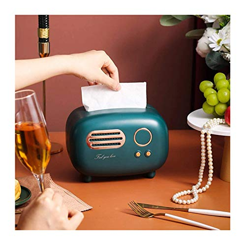 domiroe Minimalist Tissue Box Cover Holder, Modern Transparent Rectangular Bamboo Facial Tissues Dispenser for Bathroom, Bedroom, Living Room,Green