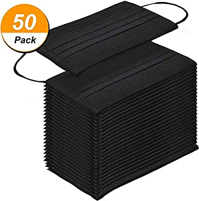 Universal Breathable Folding Covers,dustproof Surgical Covers,latex-free Safer Protection Prevention,3-layer Disposable Medical Covers Black 50 Pcs
