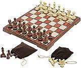 QQW Juego de Ajedrez Juegos de Viajes Adultos Kids Board Puzzle Chess Set Dobling Chess Set, con Bolsa de Alenamiento, Ajedrez Internacional Estándar, Regalo para Amantes Del Ajedrez/Principiante Y