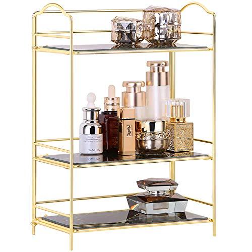 Simmer Stone 3 Tires Maquillaje Perfume Shelf,Cosmetic Organizer Stand Storage Rack for Dresser,...