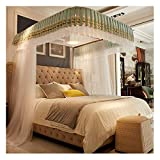 Bed Canopy Lace Mosquito Net for Girls Bed White U Shaped Rail Canopy Bed Curtains 3 Openings Bedroom Decoration(Size:for 1.8m/6 Feet Bed)