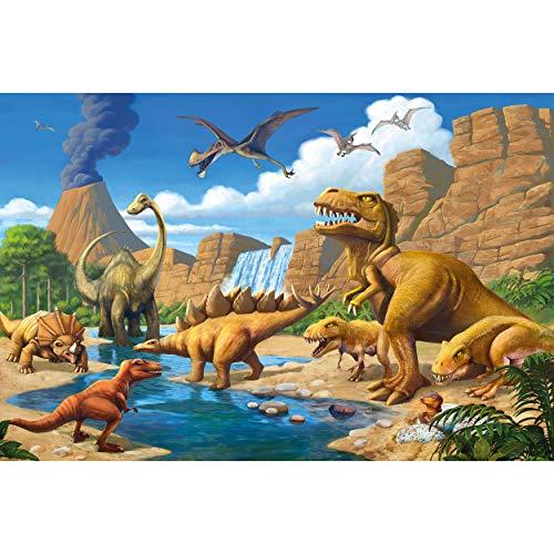 GREAT ART® Fototapete – Kinderzimmer Abenteuer Dinosaurier – Wandbild Dekoration Dinowelt Comic Style Jungle Adventure Dinosaurus Wasserfall Foto-Tapete Wandtapete Fotoposter (336 x 236 cm)