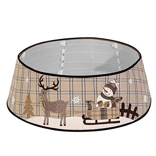 Decdeal Falda de Árbol de Navidad 30 Pulgadas a Cuadros Base de Árbol de Navidad Cubierta de Cuello de Labor de Retazos Decoración de Árbol de Navidad
