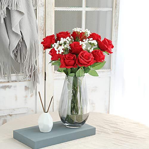 JUSTOYOU 10 Pack Künstliche Seide Rose Blumen Hochzeit Sträuße(rot) - 6