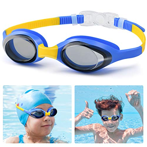BILLKAQ Kids Swim Goggles, Soft Silicone Frame Swimming Goggles with Ajustable Straps, Child Dive Goggles No Leaking Anti Fog UV Protection Lenses for Boys Girls Kid Age 3-12 Child (Blue)