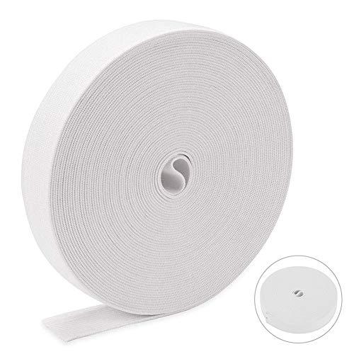 Goma Elástica para Costura de 15 mm, Banda Elástica Blanco de 16 Metros, Elástico de Cuerda Tela para Coser Ropa Costura Y Manualidades DIY, Color Blanco