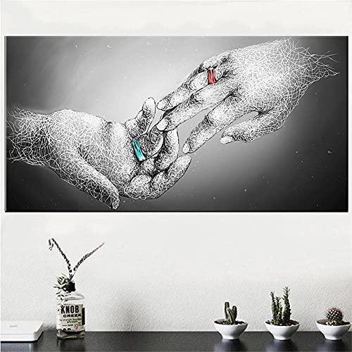 5D Diamond Painting kit completo Adultos/Ninos,Anillo de pareja DIY pintura diamante Pintura Kit Bordado De Punto De Cruz Diamante Arts Craft por Decoración de la Pared del Hogar,50x100cm