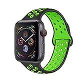 METEQI バンド 対応 Apple Watch, シリカゲルバンド スポーツシリコンストラップリストバンド交換バンド柔らか運動型 M/L Series 6/5/4/3/2/1/SE (42MM/44MM, 黒/緑)
