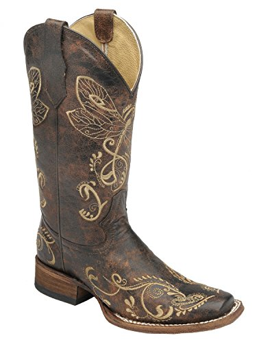 Circle G Dragonfly Boot With Square Toe, Brown, US 9
