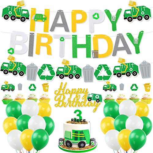Garbage Truck Birthday Party Supplies, Trash Truck Birthday Banner Garland, Cake Topper Cupcake Toppers, Green White Yellow Latex Balloons for Boy's Birthday Waste Management Recycling Party Decor