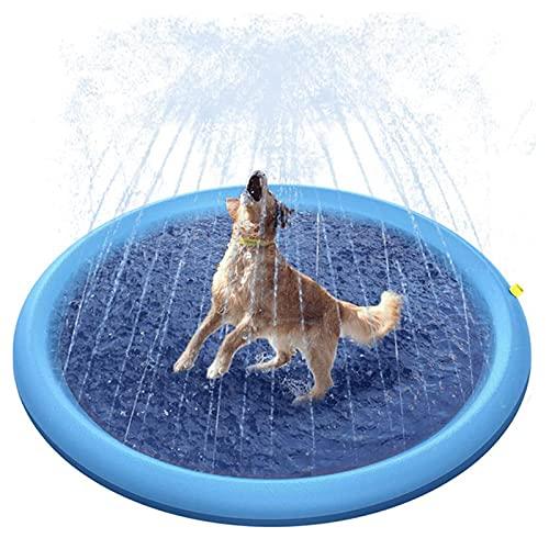 ZXYY Alfombrilla Juego Rociar y Salpicar Agua Estera Inflable Antideslizante para Salpicaduras Piscina para Niños Agua en Aerosol Al Aire Libre Juguetes Duraderos,Blue-150cm