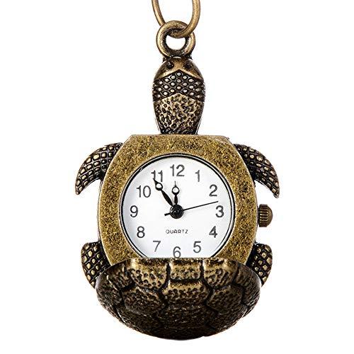 GJHBFUK Reloj Niño Relojes para Hombres Y Mujeres Reloj De Bolsillo Retro Exquisita Cubierta En Forma De Tortuga Aleación Reloj De Bolsillo De Cuarzo Regalo