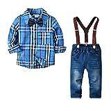 Yilaku Baby Jungen Bekleidungssets Baumwolle Langarm Hemd+Hose+Hosentrger+Fliege Krawatte Frhling Gentleman Taufe Hochzeit Anzge