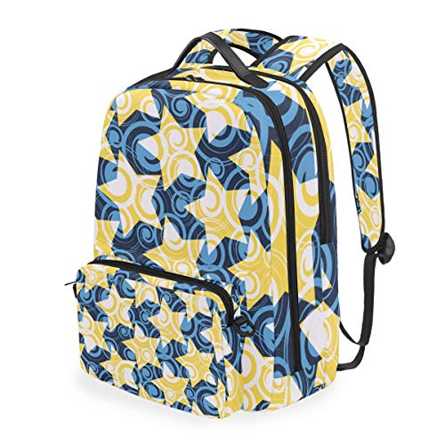 hangong Watercolor Little Dots Colorful Stars Seamless,School Backpack with Removable Pencil Case, 2 in 1 Travel Daypack Fits 15 Inch Laptop for Girls or Boys