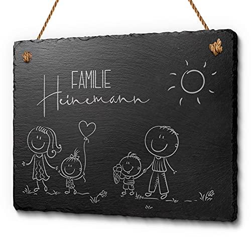 Familienschild aus Schiefer mit Gravur - Haustürschild mit Figuren Mama Papa Kinder   Persönliches Geschenk oder individuelle Dekoidee   Tolles Türschild für Familien (20x15 cm)