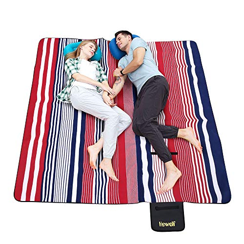 Hewolf Extra Large Picnic Blanket  Waterproof 79×79 Picnic Mat Folding Portable Tote for Family Camping Concert Indoor and Outdoor Striped Picnic Blanket 79×79