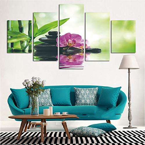 MMLFY 5 Leinwandbilder Wandkunst HD Gedruckt Gemälde Bilder Leinwand 5 Panel Rosa Orchideen Bambus Stein Wasser Wohnkultur Moderne Modulare Poster