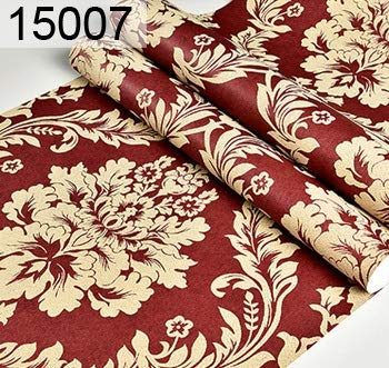 SMXGF European Style Luxe damast behang Roll 3D in reliëf Non-woven Verdikte Paper Wall Decor Wallpapers for Living Room Bed Room (Color : 15007, Dimensions : 9.5mx0.53m)