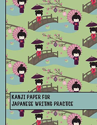 Kanji paper for Japanese writing practice: Japanese Genkouyoushi Practice notebook for kana Scripts, cursive hiragana and angular katakana characters ... Green background with geisha girls on bridge