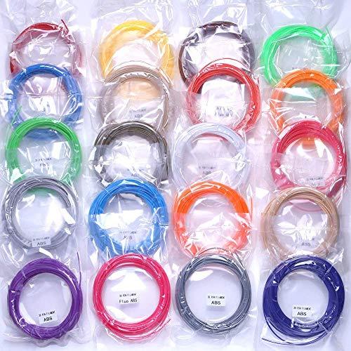 Accessori per parti della stampante 3D, 20 colori o 10 colori o 5 colori/set Filamento per penna 3D ABS Materiale di stampa in gomma plastica da 1,75 mm per stampante 3D Forniture per stampante a fi