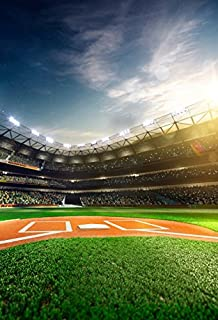 Yeele 5x7ft Baseball Field Backdrop Sport Theme Interior Stadium Lights Green Grassland Photography Background Birthday Portrait Photo Booth Photoshoot Props Wallpaper