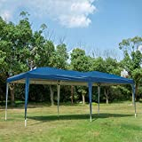 charaHOME Pop Up Canopy Upgraded Canopy Tent Instant Tent Ez Up Canopy 10 x 20 Portable Shade Folding Outdoor Shelter Tent for Parties Backyard Patio Wedding Commercial Activity Pavilion BBQ (Blue)