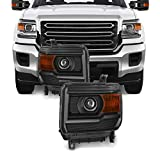 Fits 2014-2017 GMC Sierra 1500 2500HD 3500 HD Projector [Halogen Style] Headlamp Headlights Left+Right Pair