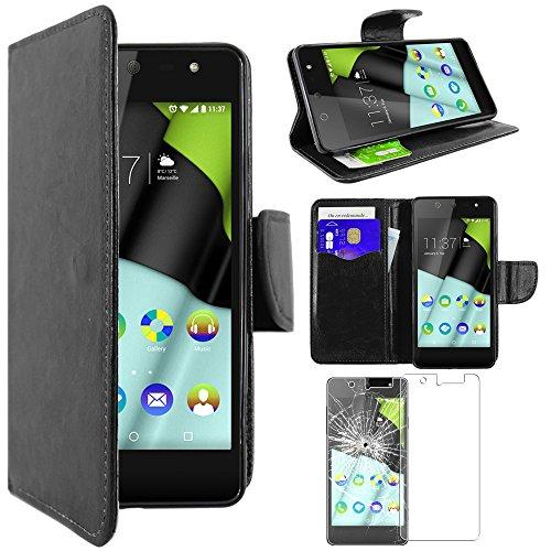 ebestStar - kompatibel mit Wiko Selfy 4G Hülle Kunstleder Wallet Case Handyhülle [PU Leder], Kartenfächern, Standfunktion, Schwarz + Panzerglas Schutzfolie [: 141 x 68.4 x 7.7mm, 4.8'']