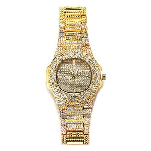 """HALUKAKAH Orologio d'oro con Diamantes Iced out,Uomo Placcato Oro Reale 18k Cinturino al Quarzo 9.5"""",Cz Completa Lab Diamantes Prong Set,Gratuito Pacco Regalo"""