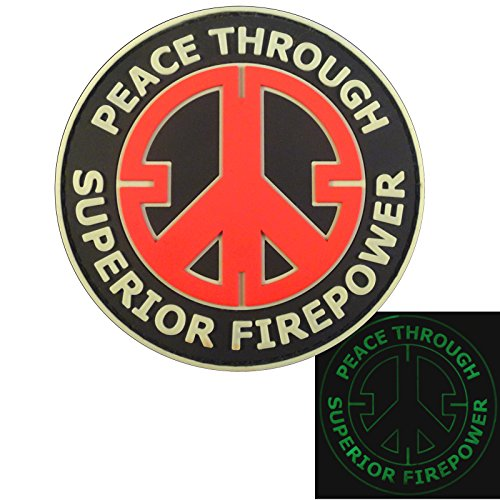 2AFTER1 Peace Through Superior Firepower Glow Dark GITD Crosshair Morale Tactical PVC Rubber 3D Hook-and-Loop Patch
