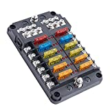 12-Way 12Volt power Fuse Box Blade 12V Auto Fuse Block with LED Warning Indicator Damp-Proof for 12V/24V Car Boat Marine Auto 12Circuit Independent Positive Negative Automotive Electrical Fuse Box
