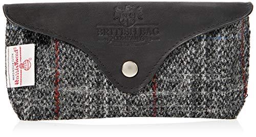 British Bag Company Brillenetui Harris Tweed Schwarz und Grau mit Lederbesatz