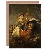 Rembrandt & Saskia Scene of The Prodigal Son Fine Art Greeting Card Plus Envelope Blank Inside Escena