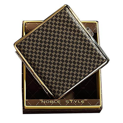 NGE シガレットケース 20本 メンズ おしゃれ タバコケース 人気 防水 スリム 真鍮 100mm ケース付き (革調)