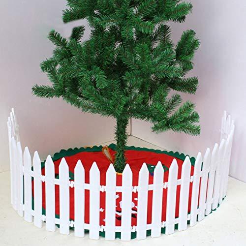 Panamami Weihnachtsdeko-Zaun Kunststoff Hotel Fashion Weihnachtsbaum-Zaun 1 Stück Landhausstil schöner Kunststoff Zaun weiß